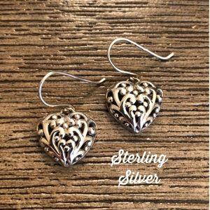 Sterling Silver Filigree Heart Earrings Fish Hooks